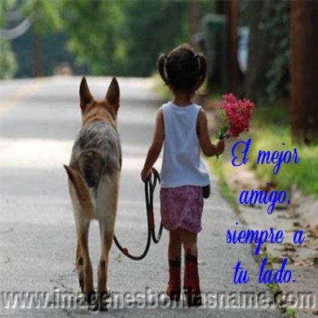 Nina Paseando Con Su Perro