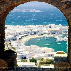 Vista De La Isla De Mykonos Grecia