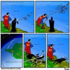 Superman Batman Lanzan Piedra